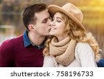 love is in the air. portrait of ... | Shutterstock . vector #758196733