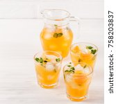 mandarin cocktail with ice and... | Shutterstock . vector #758203837