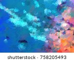 color mixed art. abstract... | Shutterstock . vector #758205493