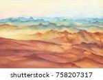 mountain landscape peaks on...   Shutterstock . vector #758207317