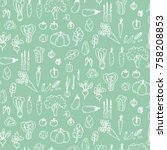 pattern with hand drawn doodle... | Shutterstock .eps vector #758208853
