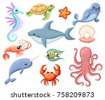 cute vector sea creatures....   Shutterstock .eps vector #758209873