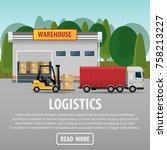 delivery of goods logistics and ... | Shutterstock .eps vector #758213227