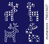 new year deer  white set on a...   Shutterstock .eps vector #758215627