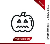 halloween pumpkin icon. holiday ... | Shutterstock .eps vector #758221513