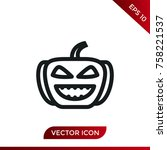 halloween pumpkin icon. holiday ... | Shutterstock .eps vector #758221537