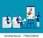 meeting. business team planning ... | Shutterstock .eps vector #758223853