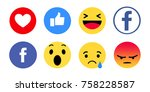 Small photo of Kiev, Ukraine - November 16, 2017: New Facebook like button 6 Empathetic Emoji. Printed on paper. Facebook is an online social networking service.