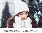 outdoor close up portrait of... | Shutterstock . vector #758229367
