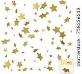 gold star confetti rain festive ... | Shutterstock .eps vector #758236213