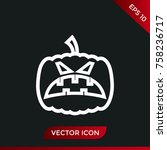 halloween pumpkin icon. holiday ... | Shutterstock .eps vector #758236717