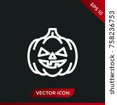 halloween pumpkin icon. holiday ... | Shutterstock .eps vector #758236753
