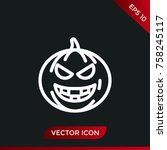 halloween pumpkin icon. holiday ... | Shutterstock .eps vector #758245117