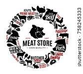 vector butchery logo  icons ... | Shutterstock .eps vector #758245333