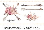 Stock photo watercolor boho floral illustration set arrows with flower bouquets for wedding anniversary 758248273