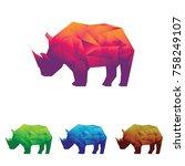 rhino rhinoceros low poly...   Shutterstock .eps vector #758249107
