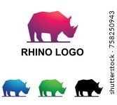 rhino rhinoceros standing...   Shutterstock .eps vector #758250943