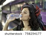 young woman at the train... | Shutterstock . vector #758254177