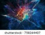 3d rendering.colorful galaxy in ... | Shutterstock . vector #758264407