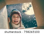 merry christmas and happy... | Shutterstock . vector #758265103