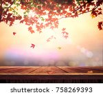 wooden table and fall maple... | Shutterstock . vector #758269393