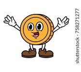 happy cartoon coin character | Shutterstock .eps vector #758271277