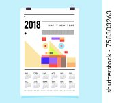 set of wall calendar 2018... | Shutterstock .eps vector #758303263