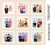 family pictures showing the... | Shutterstock .eps vector #758305987