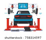 lift car on auto service. auto... | Shutterstock .eps vector #758314597