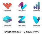 modern minimal vector logo for... | Shutterstock .eps vector #758314993