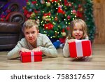 children lie near christmas... | Shutterstock . vector #758317657