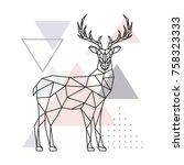 scandinavian deer  side view.... | Shutterstock .eps vector #758323333