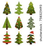 big set of christmas tree... | Shutterstock .eps vector #758325493