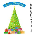 merry christmas poster with... | Shutterstock .eps vector #758327737