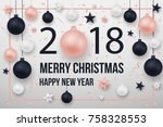 merry christmas tree branches... | Shutterstock .eps vector #758328553