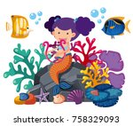 cute mermaid playing harp with... | Shutterstock .eps vector #758329093
