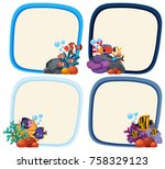 border template with cute fish... | Shutterstock .eps vector #758329123