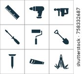 handtools icons set with... | Shutterstock .eps vector #758332687