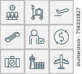 airport icons set with luggage... | Shutterstock .eps vector #758333827