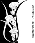 deep-bodied crevalle floral background  in black and white colors - stock vector