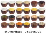 cereals set isolated on white...   Shutterstock . vector #758345773