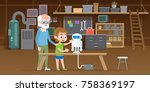 little boy with his grandfather ... | Shutterstock .eps vector #758369197