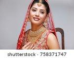 indian bride in traditional... | Shutterstock . vector #758371747