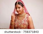 indian bride in traditional...   Shutterstock . vector #758371843