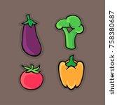 set of vegetables. vector... | Shutterstock .eps vector #758380687