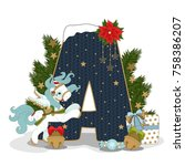 christmas letter a. new year... | Shutterstock .eps vector #758386207