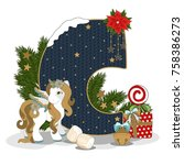 christmas letter c. new year... | Shutterstock .eps vector #758386273