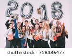group of beautiful young people ... | Shutterstock . vector #758386477