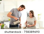 cute young couple drinking... | Shutterstock . vector #758389693
