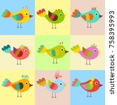 cute bird vector | Shutterstock .eps vector #758395993